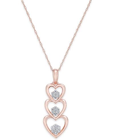 Diamond triple heart pendant necklace 17 ct tw in 14k rose diamond triple heart pendant necklace 17 ct tw in 14k rose aloadofball Images