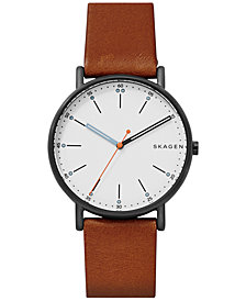 Skagen Men's Signature Brown Leather Strap Watch 40mm SKW6374