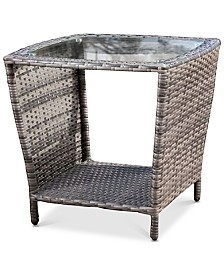 Cyna Glass Top Side Table, Quick Ship