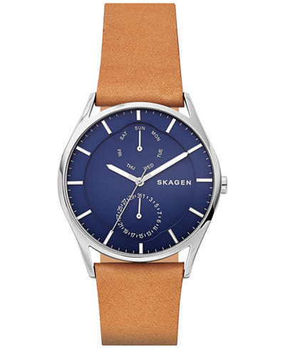 Skagen Men's Holst Tan Leather Strap Watch 40mm SKW6369