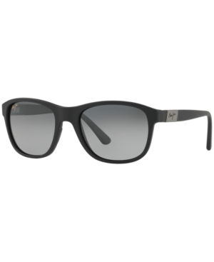 Maui Jim Wakea 55mm Polarized Sunglasses In Black Matte/grey Mirror Polar