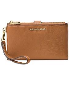 MICHAEL Michael Kors Adele Double-Zip Pebble Leather Phone Wristlet