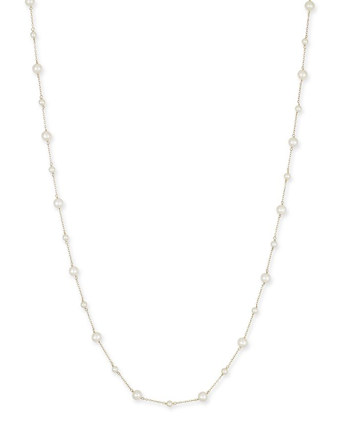 Macy's - Cultured Freshwater Pearl (4-1/2mm & 7mm) Chain Long Necklace in 14k Gold-Plated Sterling Silver