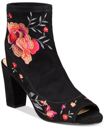 Anna Sui Loves INC International Concepts Women's Kayden Embroidered Sock Booties, Created for Macy's