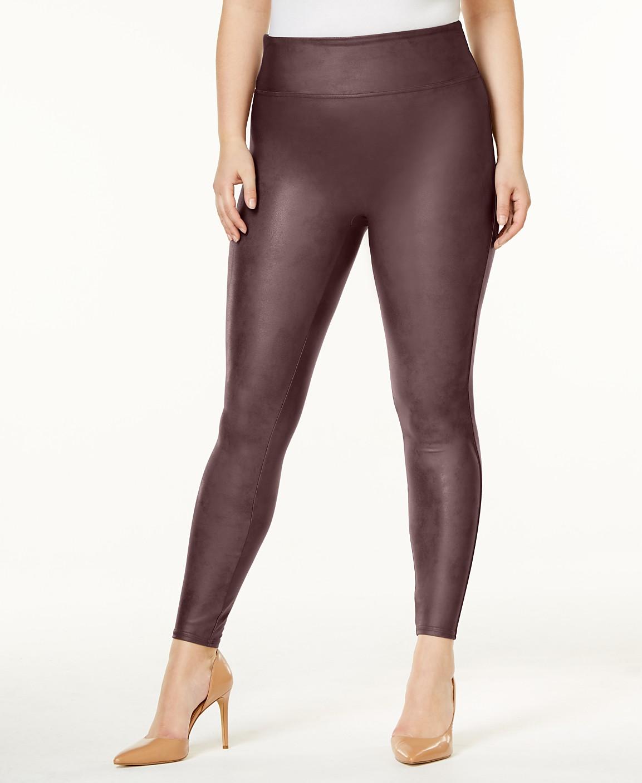 55008febad99d SPANX Women's Plus Faux-Leather Tummy Control Leggings & Reviews ...