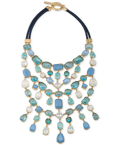 Carolee Gold-Tone Multi-Stone and Satin Cord Statement Necklace