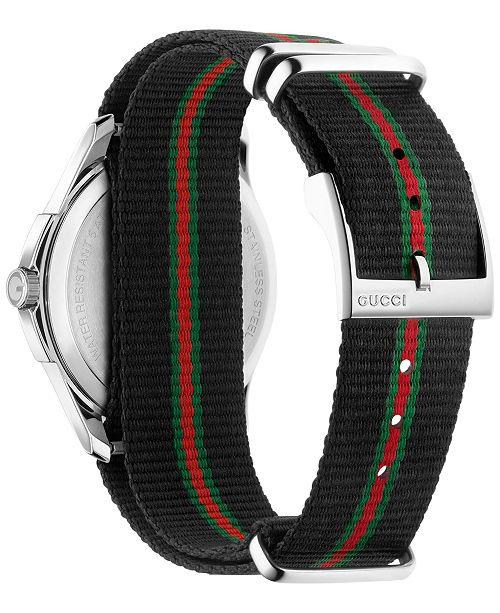 4a5991aa299 ... Gucci Men s Swiss G-Timeless Black Striped Nylon NATO Strap Watch 40mm  YA126321 ...