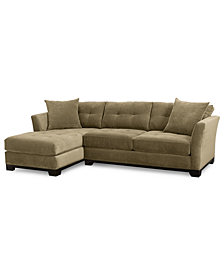 Elliot Fabric Microfiber 2-Pc. Chaise Sectional Sofa, Created for Macy's