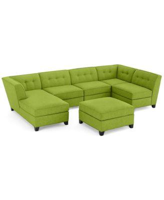 Harper Fabric 6 Piece Modular Sectional Sofa with Chaise u0026 Ottoman - Custom Colors Created  sc 1 st  Macyu0027s : green sectional sofa - Sectionals, Sofas & Couches
