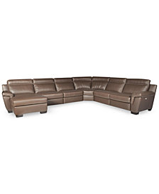 CLOSEOUT! Julius 6-pc Leather  Sectional Sofa with Chaise and 2 Power Recliner, Created for Macy's