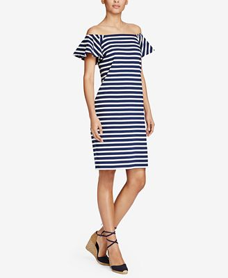 Lauren Ralph Lauren Striped Off-The-Shoulder Cotton Dress