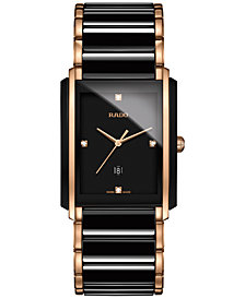 Rado Men's Swiss Integral Diamond Accent Two-Tone Stainless Steel and Ceramic Bracelet Watch 31x41mm R20207712