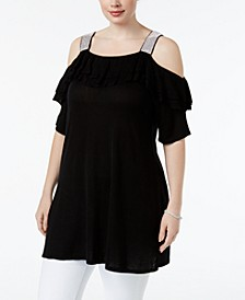 Plus Size Ruffled Cold-Shoulder Tunic