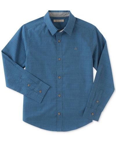 Calvin Klein Chambray Cotton Shirt, Big Boys