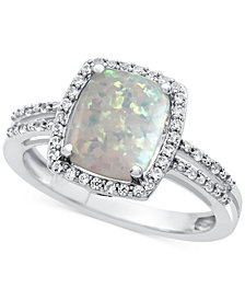Lab-Created Opal (7/8 ct. t.w.) and White Sapphire (1-1/3 ct. t.w.) Ring in Sterling Silver
