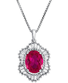 Lab-Created Ruby (1-7/8 ct. t.w.) and White Sapphire (3/4 ct. t.w.) Pendant Necklace in Sterling Silver
