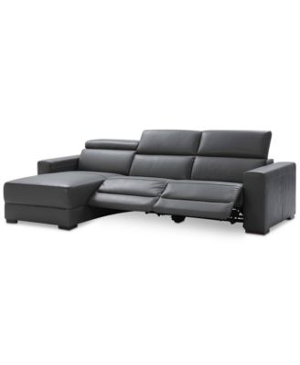 Nevio 3-pc Leather Sectional Sofa with Chaise 2 Power Recliners and Articulating Headrests Created for Macyu0027s  sc 1 st  Macyu0027s & Nevio Leather u0026 Fabric Power Reclining Sectional Sofa with ... islam-shia.org