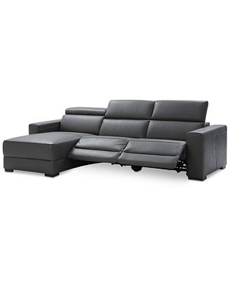 Furniture Nevio 3 Pc Leather Sectional Sofa With Chaise 2 Power