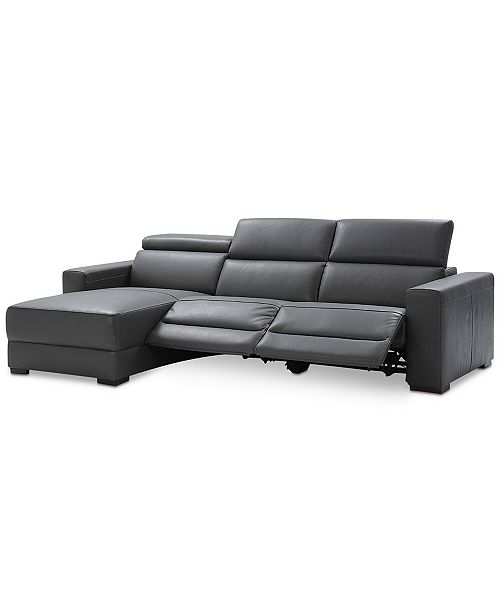 Nevio 115 3-pc Leather Sectional Sofa with Chaise, 2 Power Recliners and  Articulating Headrests, Created for Macy\'s