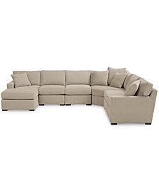 Furniture radley fabric 6 piece chaise sectional sofa created for macys furniture macys