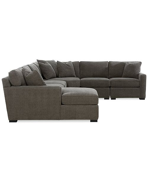 Furniture Radley 5-Piece Fabric Chaise Sectional Sofa, Created for ...
