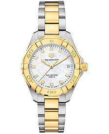 TAG Heuer Women's Swiss Aquaracer Diamond-Accent Stainless Steel & 18k Gold Bracelet Watch 32mm