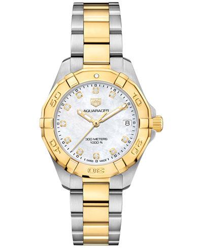 TAG Heuer Women's Swiss Aquaracer Diamond-Accent Stainless Steel & 18k Gold Bracelet Watch 32mm