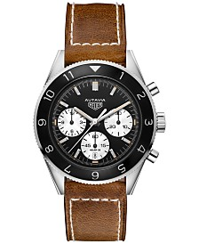 TAG Heuer Men's Swiss Automatic Chronograph Autavia Calibre HEUER02 Brown Leather Strap Watch 42mm