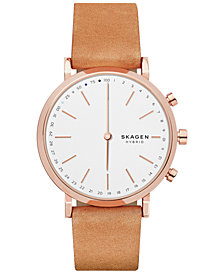 Skagen Women's Hald Tan Leather Strap Hybrid Smart Watch 40mm