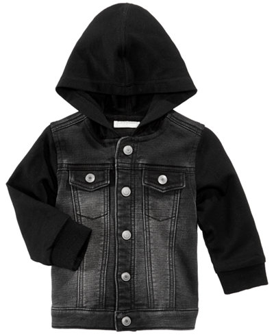 First Impressions Hooded Layered Look Denim Jacket Baby Boys 0 24 Months