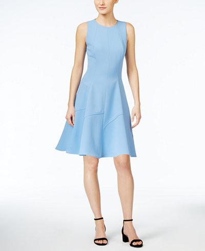 Anne Klein Twill Fit Amp Flare Dress Dresses Women Macy S