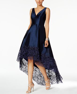 Betsy Adam Lace Trim High Low Gown Dresses Women Macys
