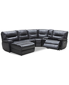 Garraway 5-Pc. Leather Sectional Sofa with Chaise, 1 Power Recliner with Power Headrest, and Console with USB Power Outlet, Created for Macy's