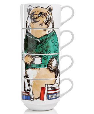 The Cellar Bear Set of 4 Stackable Mugs, Created for Macy's