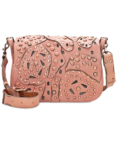 Patricia Nash Studded Link Rosa Square Flap Small Saddle Bag