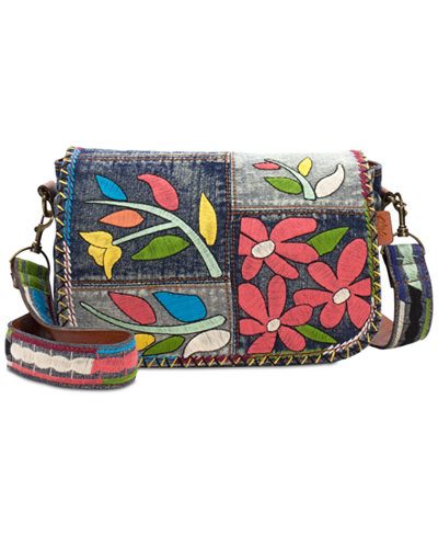 Patricia Nash Floral Embroidery Rosa Square Flap Small Saddle Bag