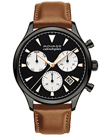 Movado Men's Swiss Chronograph Heritage Series Calendoplan Cognac Leather Strap Watch 43mm