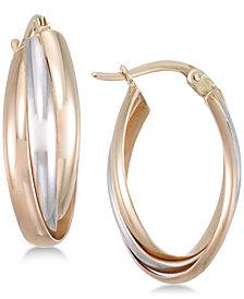 Tri-Color Multi-Ring Interlocked Hoop Earrings in 14k Gold, White Gold & Rose Gold