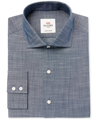 Ben Sherman Men's Slim-Fit Navy Slub Chambray Dress Shirt