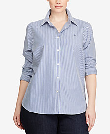 Lauren Ralph Lauren Plus Size Long Sleeve Non-Iron Striped Shirt