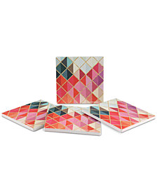 Thirstystone Colorful Abstract Diamonds 4-Pc. Coaster Set