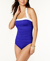 0958882723f Lauren Ralph Lauren Tummy-Control Ruched Halter One-Piece Swimsuit