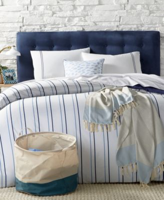 For Macy's 9-Pc. Alternating Navy Stripe Twin XL Comforter Boxed Room, Created for Macy's
