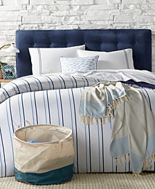 Remodo For Macy's 9-Pc. Alternating Navy Stripe Queen Duvet Cover Boxed Room, Created for Macy's