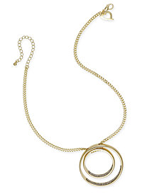 Thalia Sodi Gold-Tone Pavé Double Circle Pendant Necklace, Created for Macy's