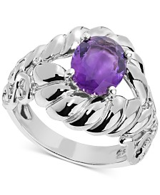 Amethyst Rope-Style Ring (2 ct. t.w.) in Sterling Silver