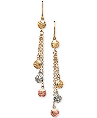Tri Color Beaded Chain Drop Earrings in 10k Gold White Gold