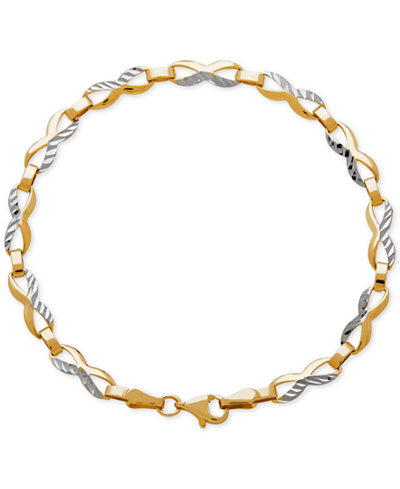 Two-Tone Textured Figure-Eight Link Bracelet in 14k Gold