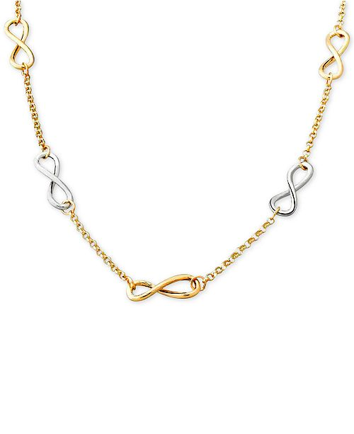 Macy's Two-Tone Infinity Link Collar Necklace in 14k Gold & White Gold