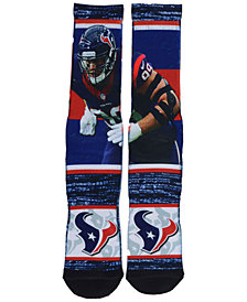 For Bare Feet Men's J.J. Watt Houston Texans Rush Player Jersey Crew Socks